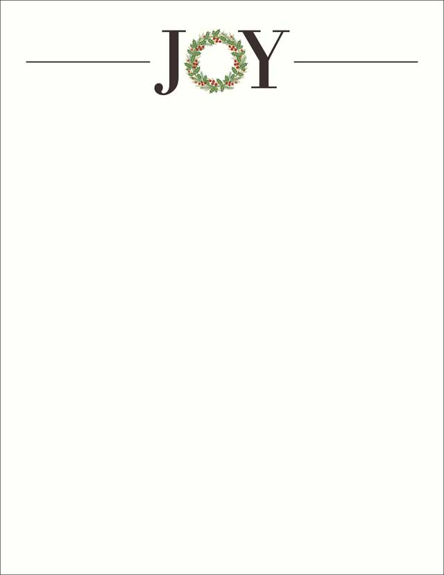 Joy Holiday Wreath Holiday Stationery \u2013 50 Sheets \u2013 Donahue Paper