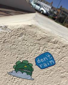 Don't Rain Skateboarding sticker Hastings