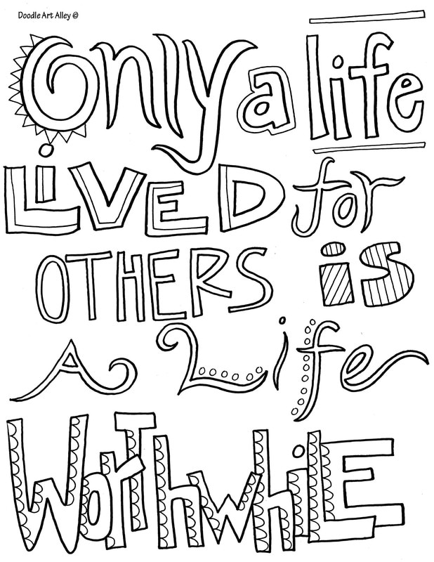 Kindness Quote Coloring Pages - Doodle Art Alley