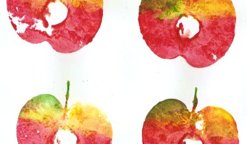 apple print with tempera on card-stock