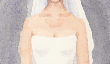 """Wedding Day Portrait"" gouache on watercolor paper"