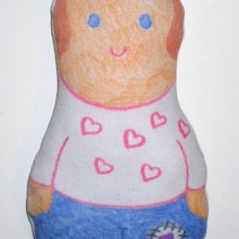 Doll created with fabric crayons