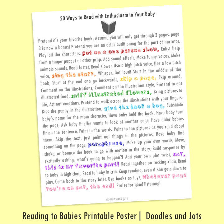 Reading to Babies Printable Poster