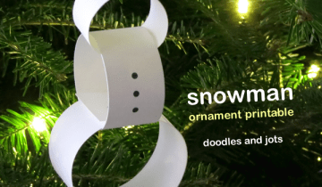 Minimalist Snowman Ornament Printable