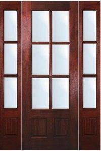 Mahogany Exterior Doors - 6-Lite Door with Sidelites