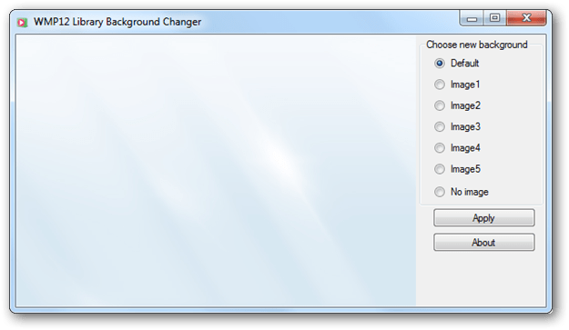 Change windows media player wmp 12 library background for Door to windows