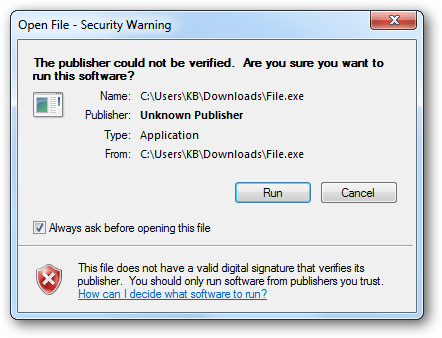 Disable Open File - Security Warning Message