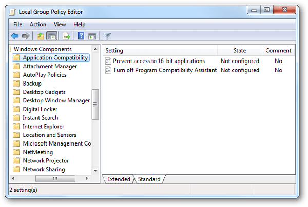 How to disable program compatibility assistant pca in for Door to windows