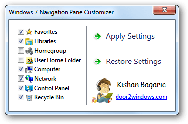 Windows 7 Navigation Pane Customizer
