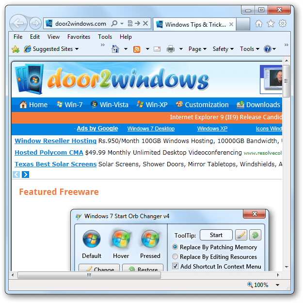 Show Menu, Favorites, Command & Status Bars In Internet Explorer 9