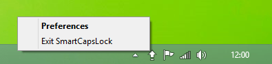 SmartCapsLock Tray Icon Context Menu