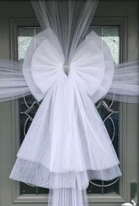White Door Deluxe Bow Decoration - Christmas Door Bows