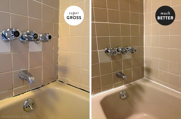 Dealing with nasty grout amp caulk in the apartment bathroom