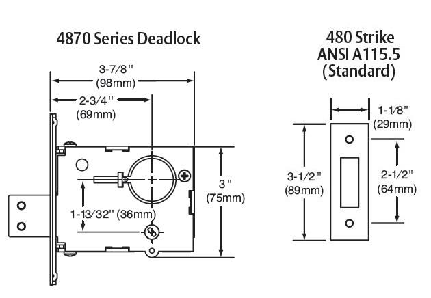 Sargent 4875 Single Cylinder Mortise Deadlock, Dead Lock, Deadbolt