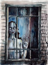 At the Window. Mixed media.