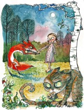 "Meeting the Fox. (illus. for ""The Queen of Cats""). 12"" x 9""; mixed media"