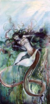 "Mermaid. watercolor; 21"" x 9"""