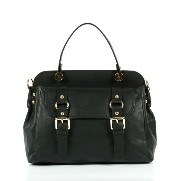 Lady leather bag with handle and clasp