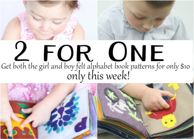 2 felt alphabet books for $10 this week only