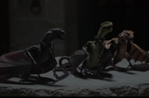 Dany's dragons in chains.