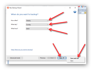 eseguire un backup dei dati