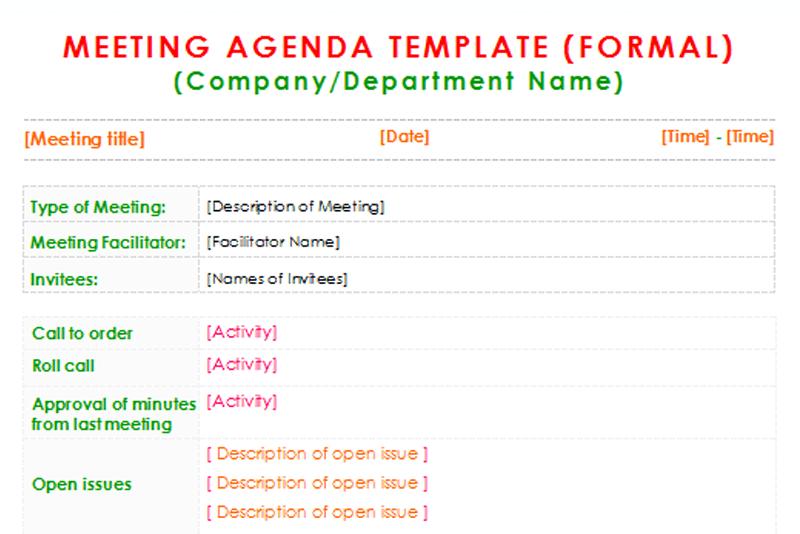 formal meeting agendas