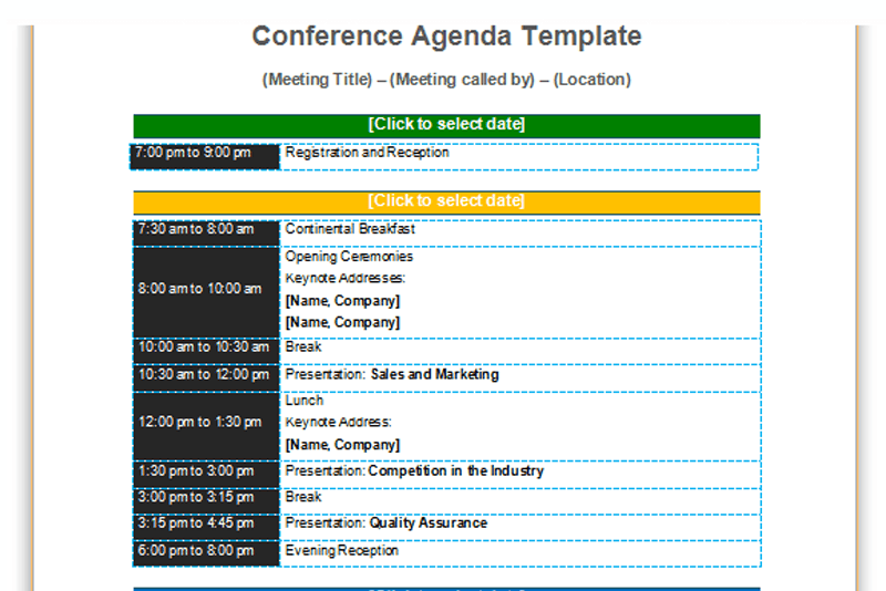 agenda document template