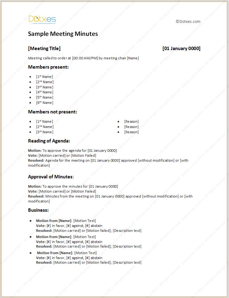 meeting minutes template sample