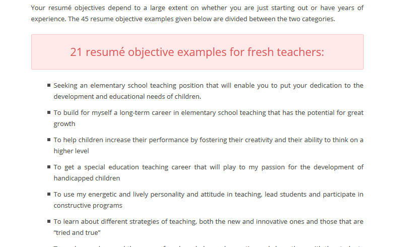 example - Education Resume Objectives