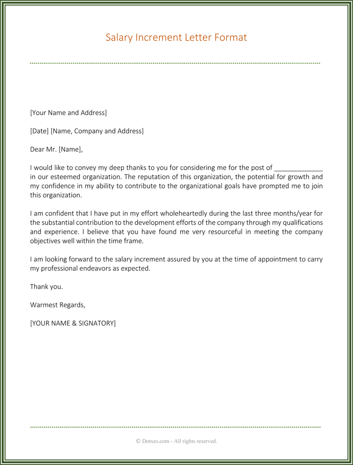 salary increment recommendation letter