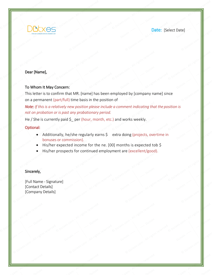 employment proof letter