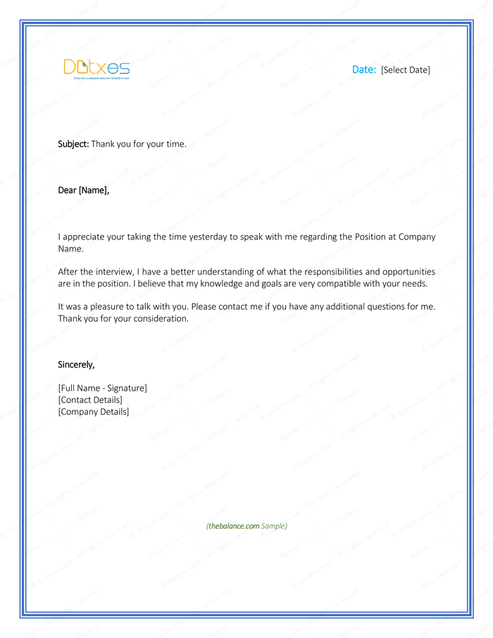 thank you letters after interviews templates