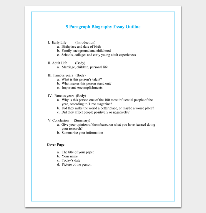 Printable Basic Resume Template With Outline Blank Form Autobiography Outline Template 23 Examples And Formats