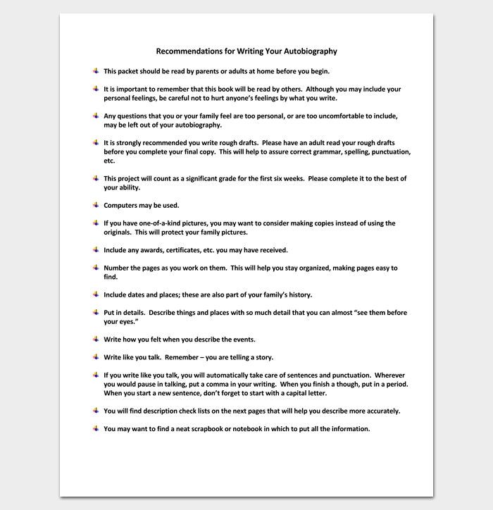 autobiography outline template