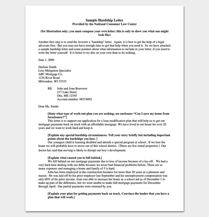 hardship letter for loan modification template