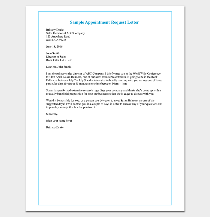 Formal Letter Sample Template 70 Free Word Pdf Meeting Appointment Letter 9 Templates For Word Pdf Format