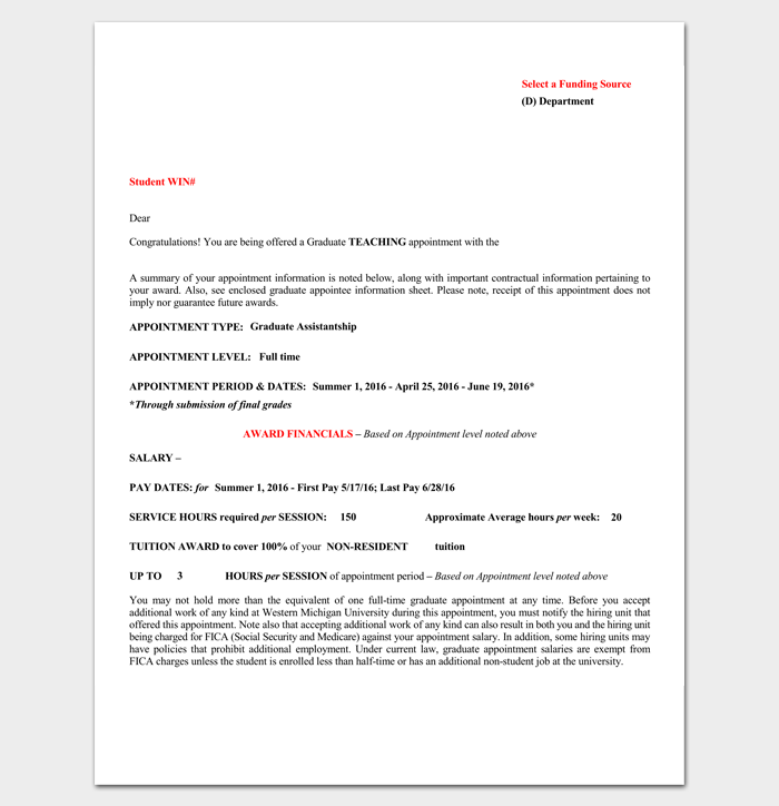 best appointment letter format