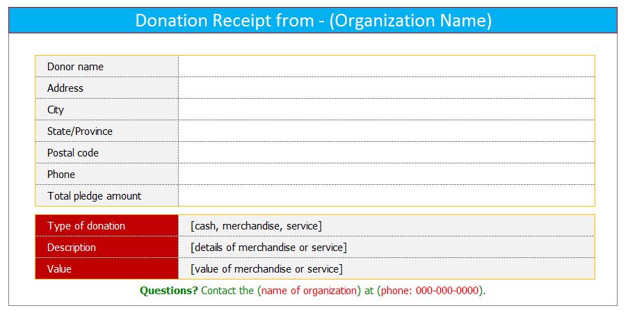 Excel Receipt Template – Donation Receipt Template