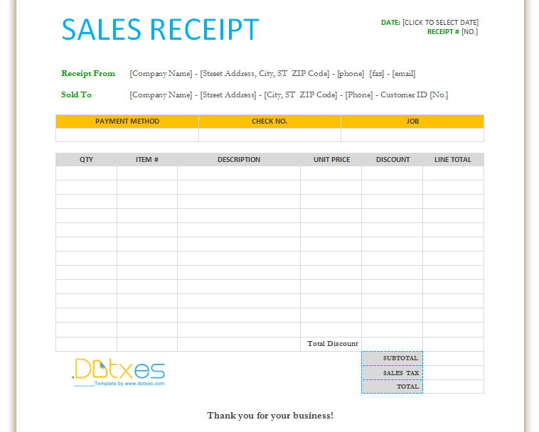 Download Sale Receipt Template – Cash Sale Receipt