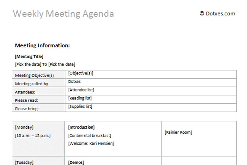 Weekly Meeting Agenda Template Dotxes