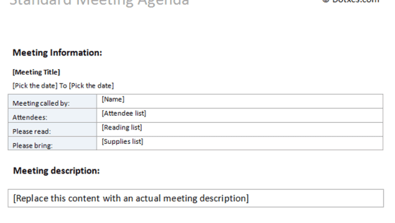 Formal Meeting Agenda Template (For Word) - Dotxes