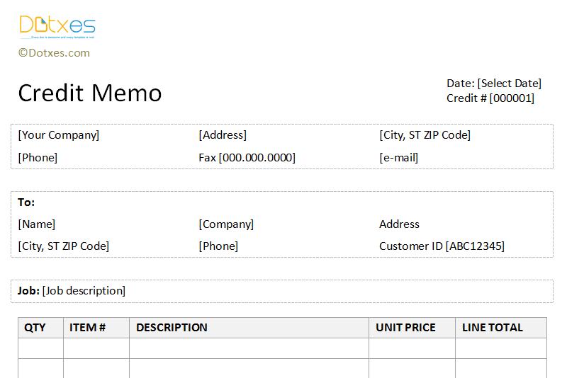 Credit Memo Form Template – Sample of Credit Memo