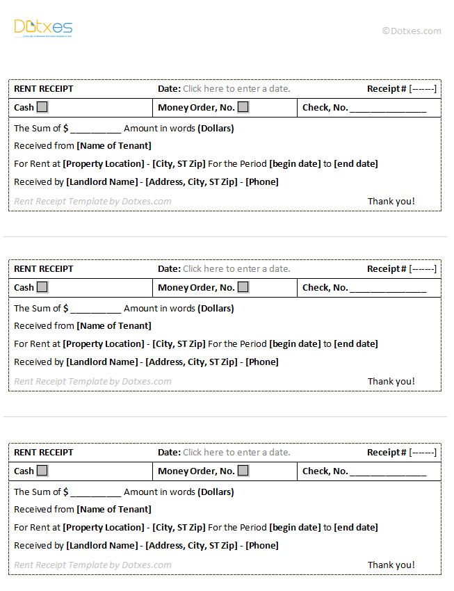 Free Rent Receipts Templates. Examples For Cover Letters