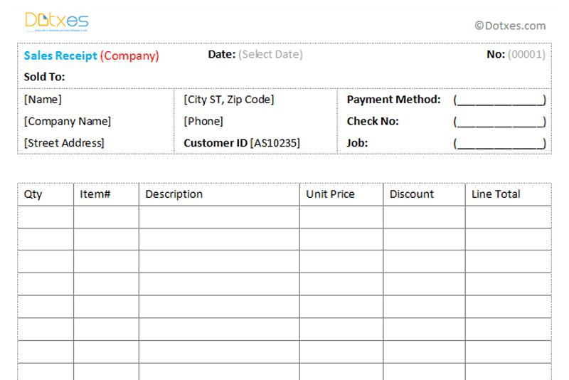 Sales Receipt Template Free Printable Receipts Sales Receipt Template 11 Dotxes