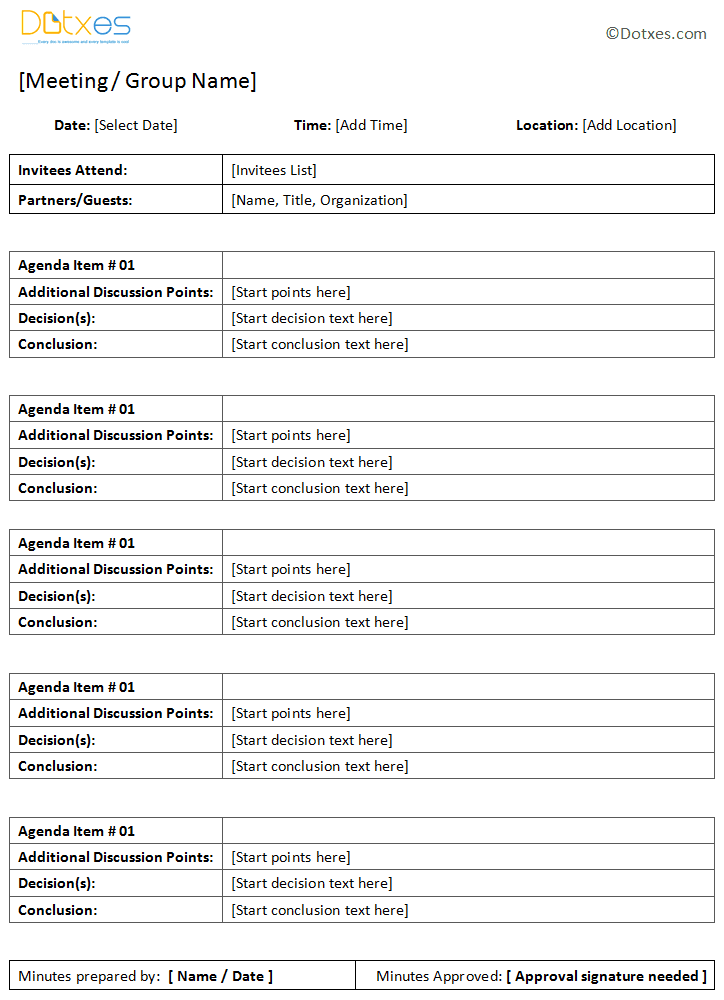 format of meeting minutes template