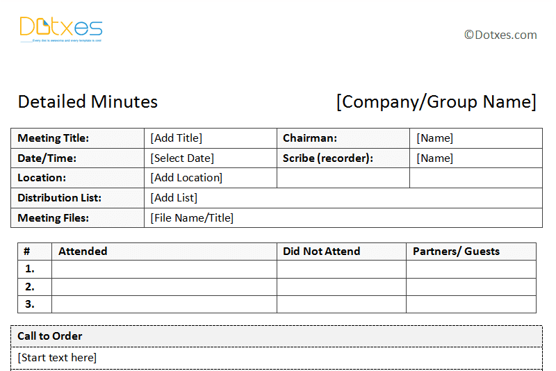 templates of meeting minutes
