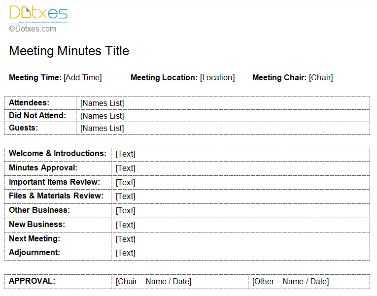 standard minutes of meeting template