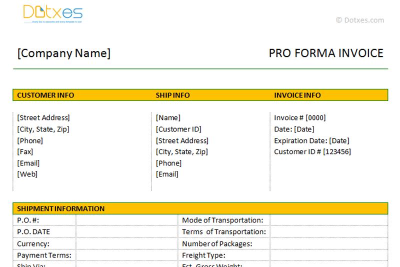 pro forma format