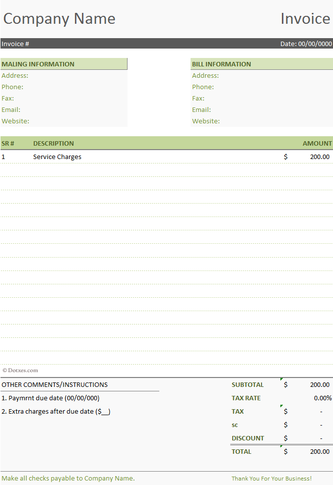 Basic Invoice Template Free corolinfo – Sample Invoice Word Doc