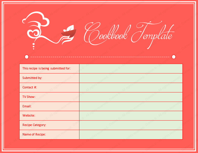 Cookbook Word Template Dotxes